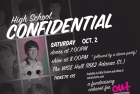 Flyer for High School Confidential Cabaret 2010. Fundraiser for OUT in Schools. Designed by Michael Cadamia. Courtesy of Zena Sharman.